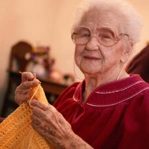 Elderly Knitting Lady