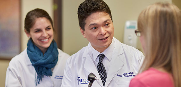 Pictured: Dr. Joseph Espiritu and a resident consult with a sleep disorders patient
