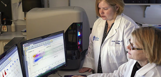 Pictured: The 10-color flow cytometry facilitates swift diagnosis, sometimes within hours.