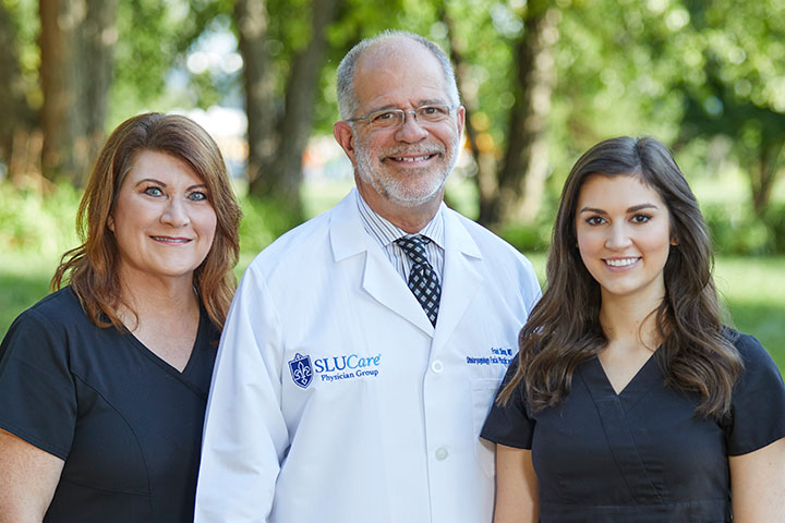 SLUCare cosmetic surgeon Dr. Frank Simo and estheticians Julie Moore and Paige Gardner