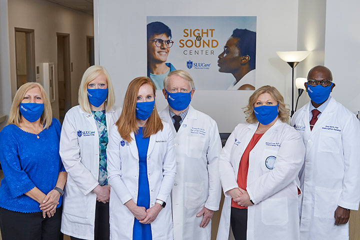 Group shot of SLUCare optometrists and audiologists at the Sight and Sound Center