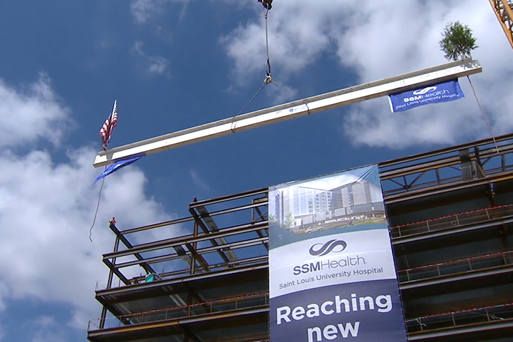 Final construction beam placed on new SSM Health SLU Hospital
